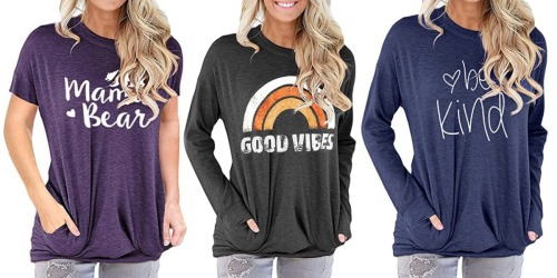 Comfy Women's Crewneck Tunics from $12 on Amazon | Over 25 Styles & Colors