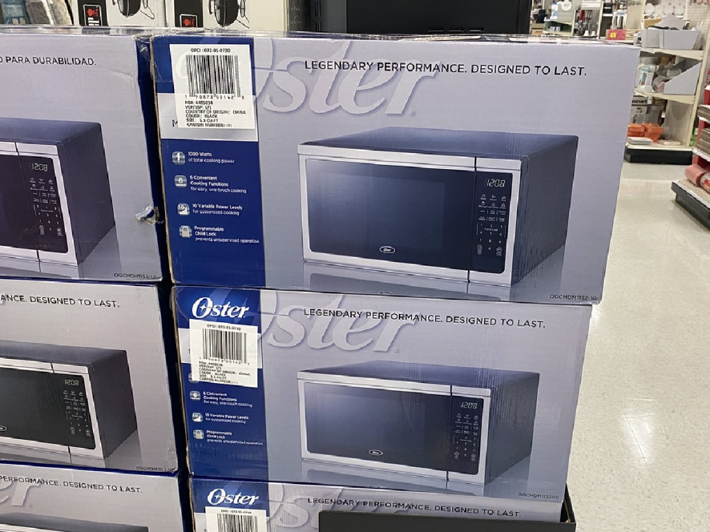 Oster 1.1 Cubic ft 1000 Watt Stainless Steel Microwave