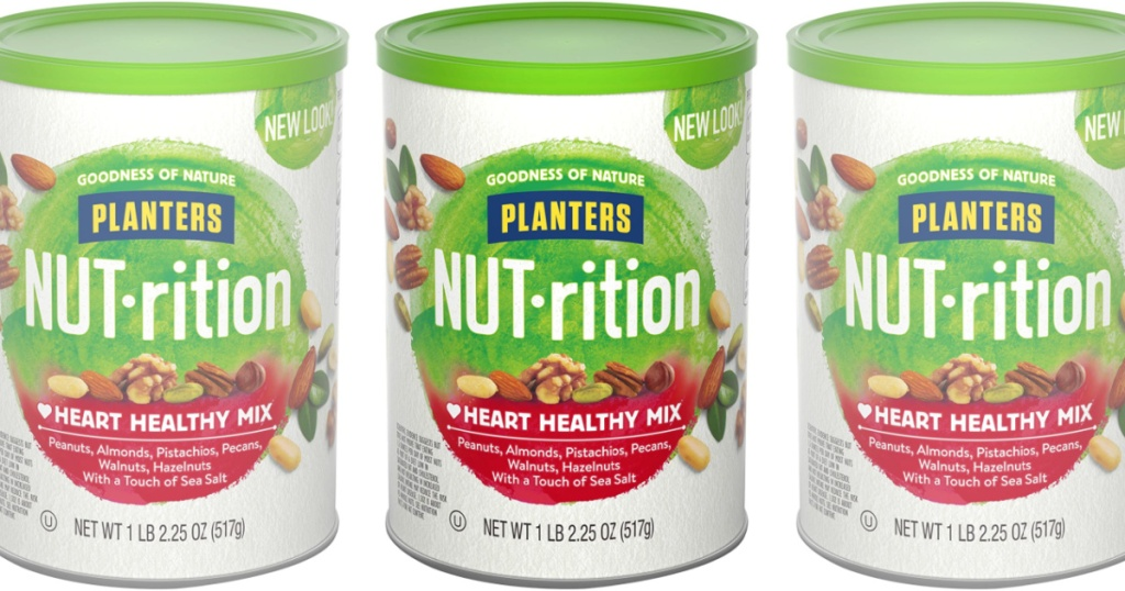 3 canisters of PLANTERS NUT-rition Heart Healthy Snack Nuts Mix
