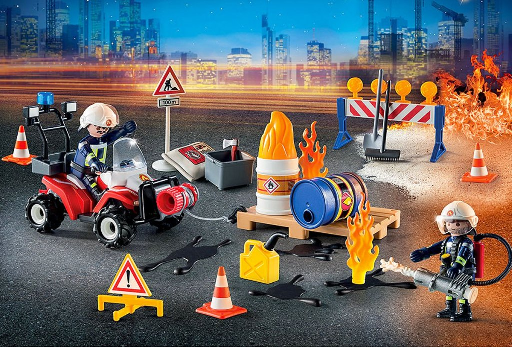 PLAYMOBIL construction site on fire playset