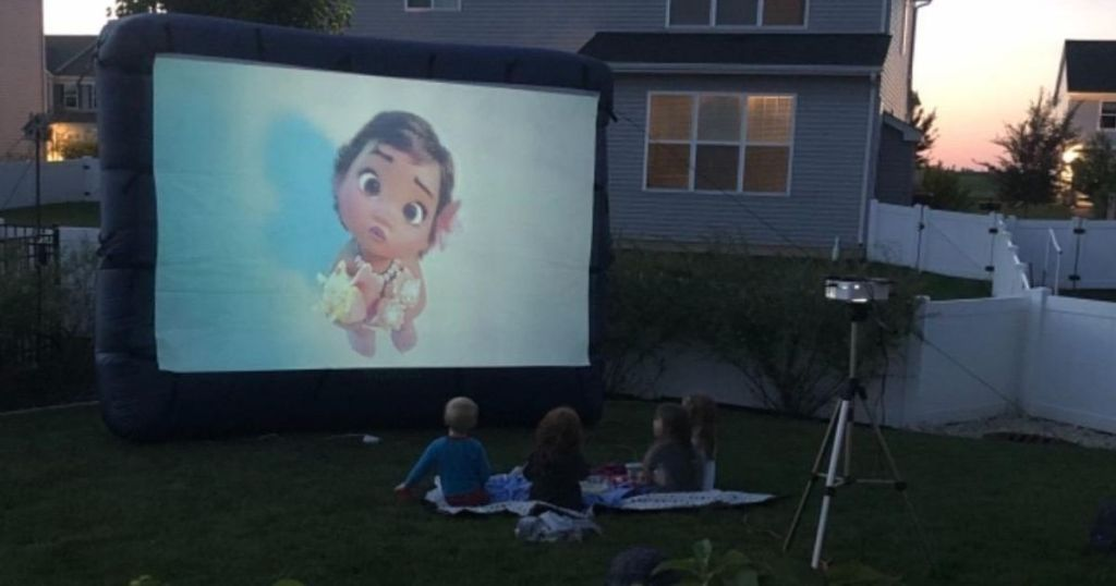 projector screen with Moana movie playing