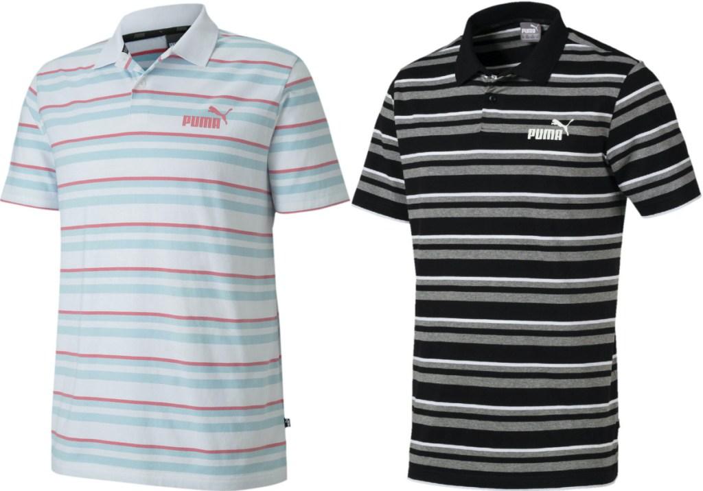 men's white striped polo and men's black striped polo