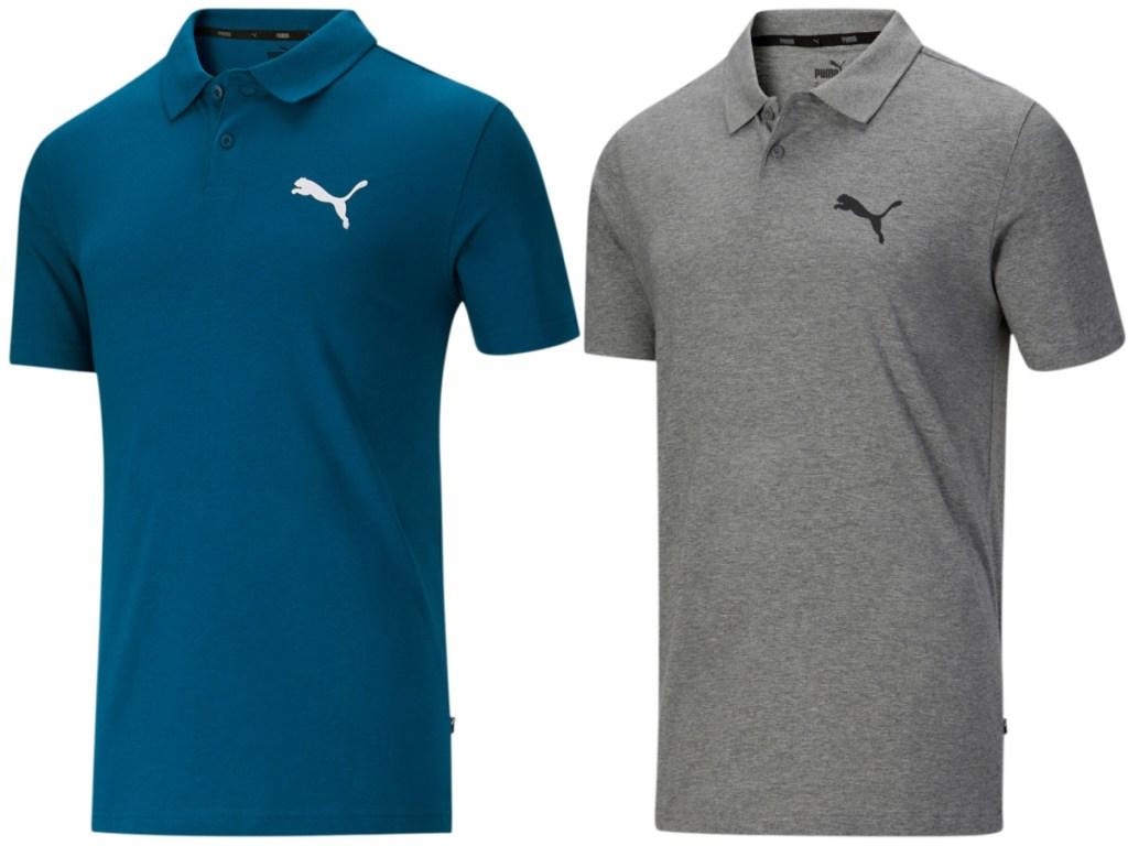 men's blue polo and men's grey polo