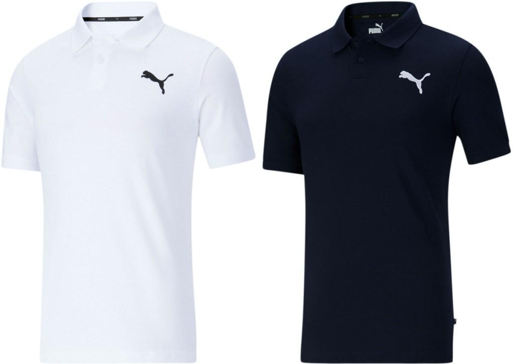 men's white polo and men's blue polo