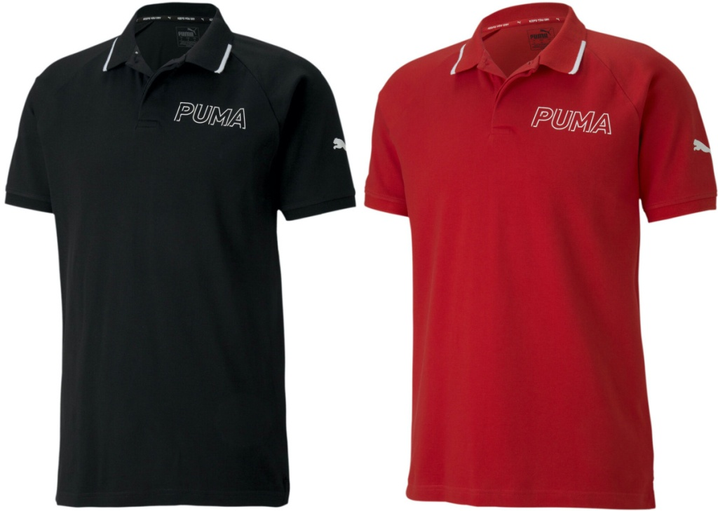men's black polo and men's red polo