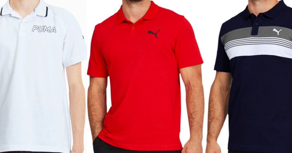 man in white polo, man in red polo, and man in blue polo