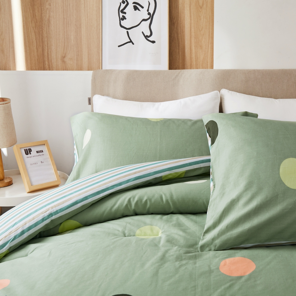 green polka dot Peach Leaf Colorful Dot King 3-Piece Set