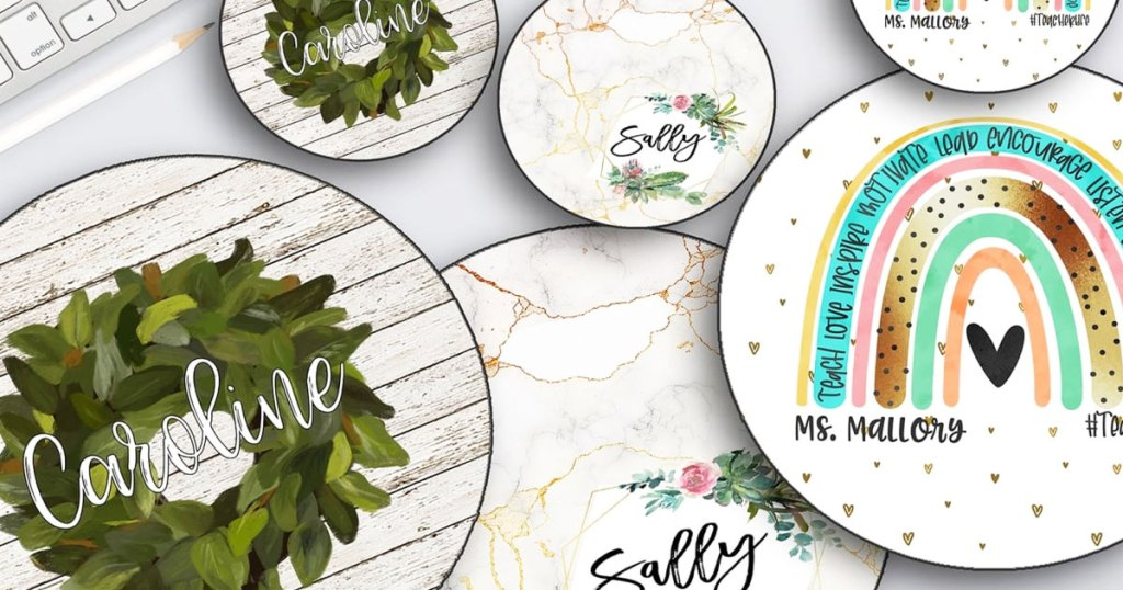round personalized mouse pads with matching coasters