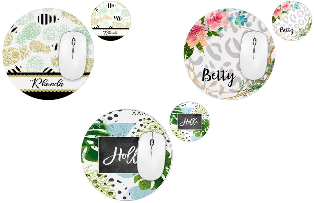 three round personalized mouse pads in floral prints with matching drink coasters