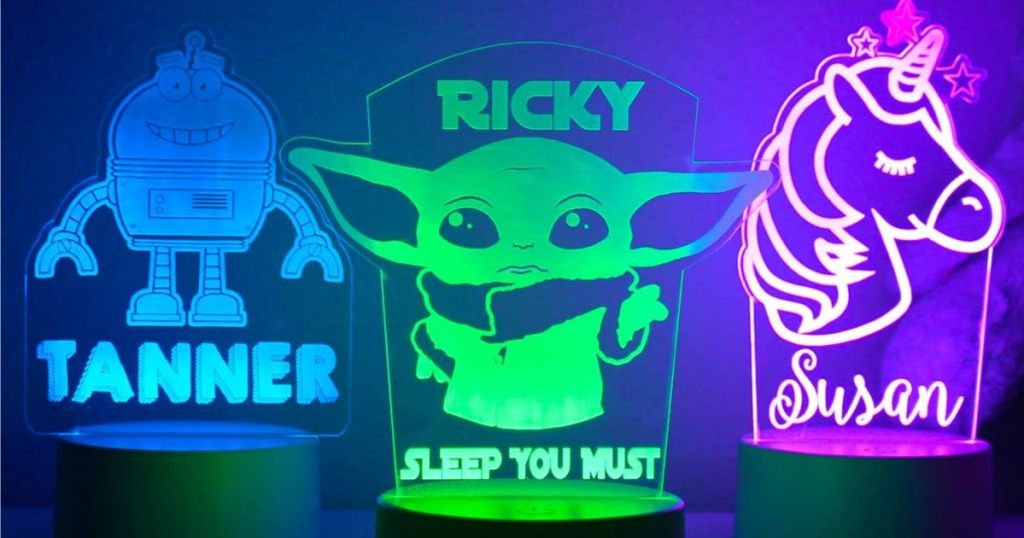 Yoda, unicron, and monster nightlights with names