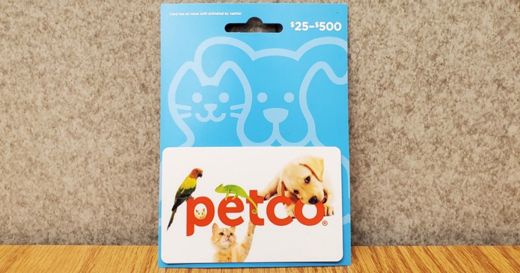 petco gift card on a counter top