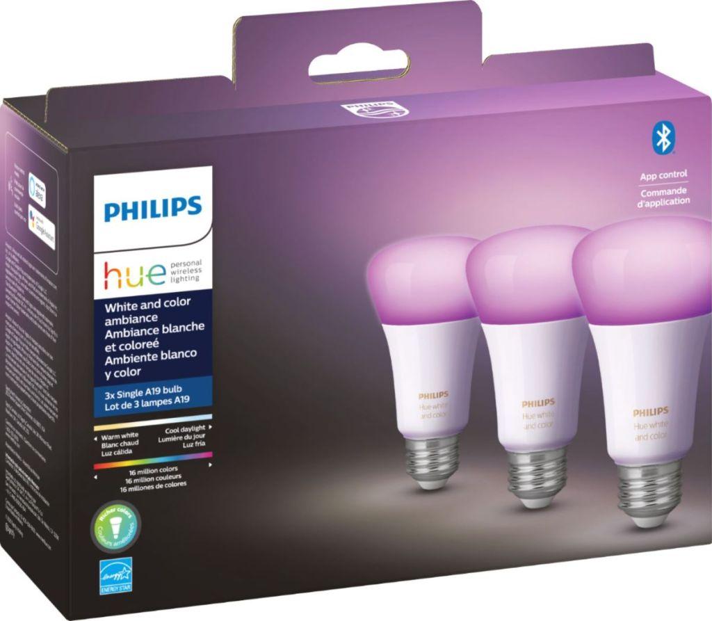 pack of three Philips Hue lightbulbs