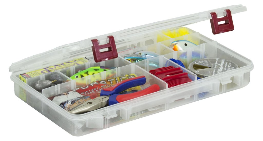 clear fishing tackle box with two red lid latches
