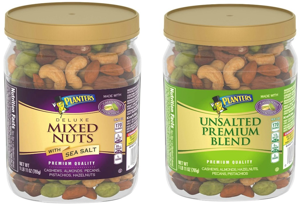 Two large containers of Planters brand mixed nuts