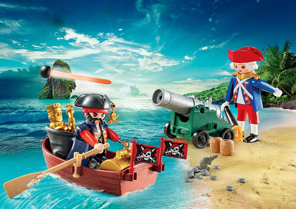 toy pirate in a boat with a toy person firing cannon balls at it