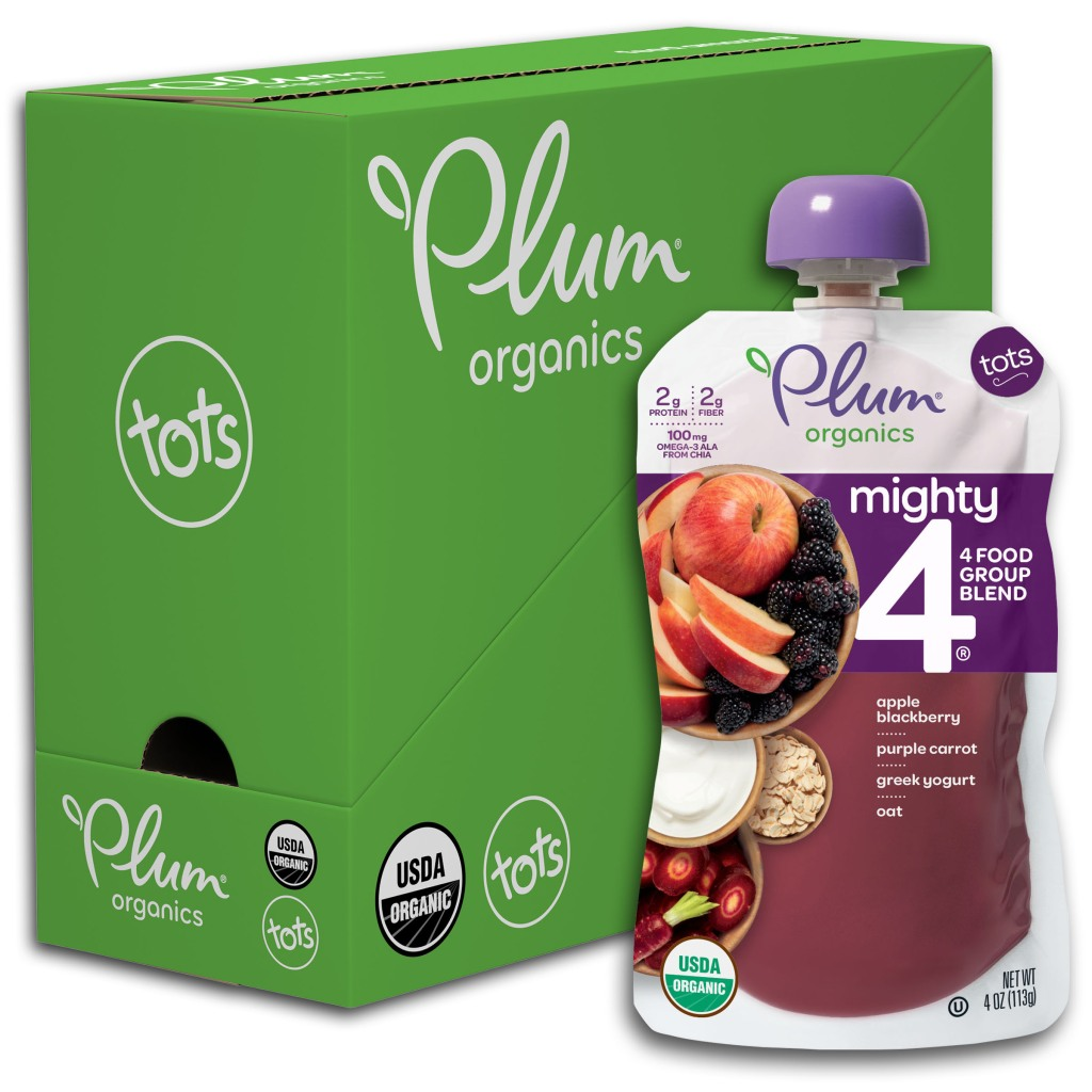 Plum Organics Mighty 4 apple blackberry pouches shown in pack