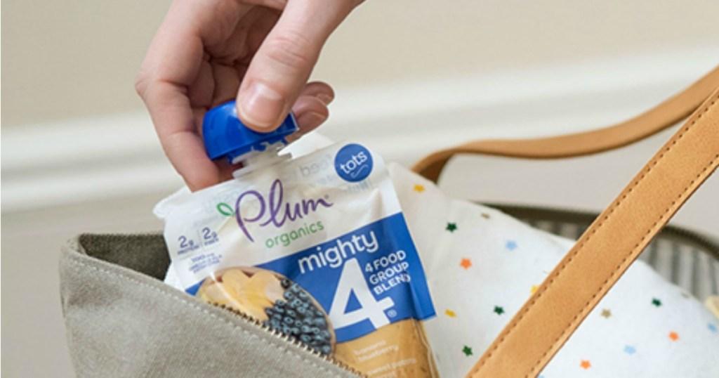 Plum Organics pouch in diaper bag