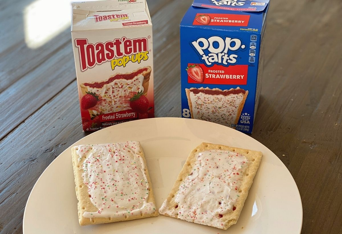 Pop tarts on a plate next to the boxes