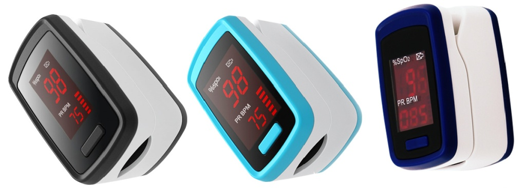 black, blue and purple pulse rate monitors