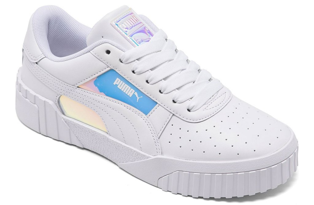 women's pure white puma sneaker with holographic print on side
