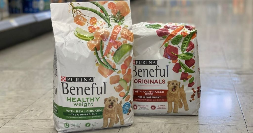 Two 3.5lb Bags of Purina Beneful Dry Dog Food on Floor at Store