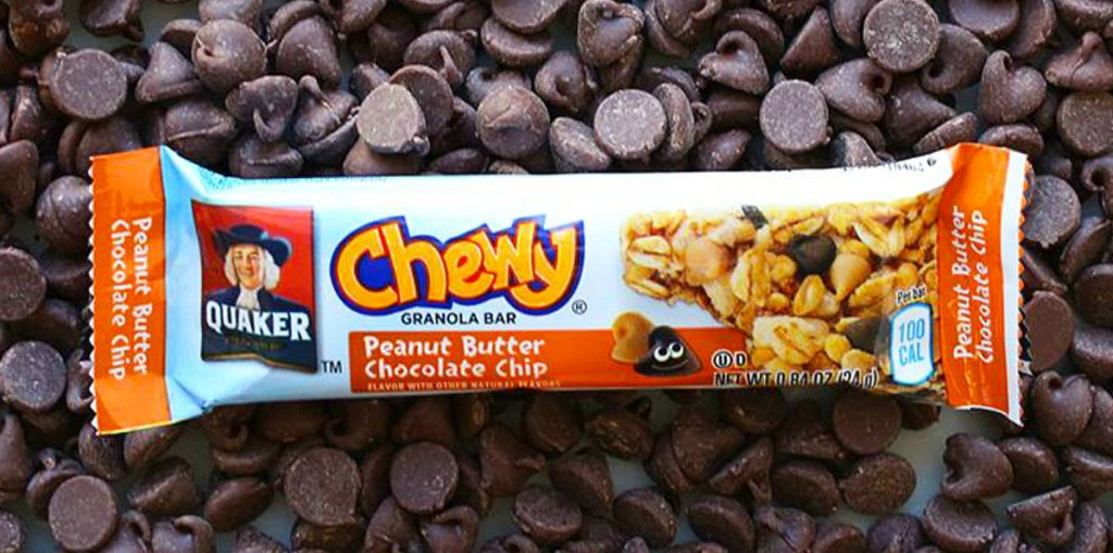 quaker chewy peanut butter chocolate chip flavor bar on top of chocolate chips