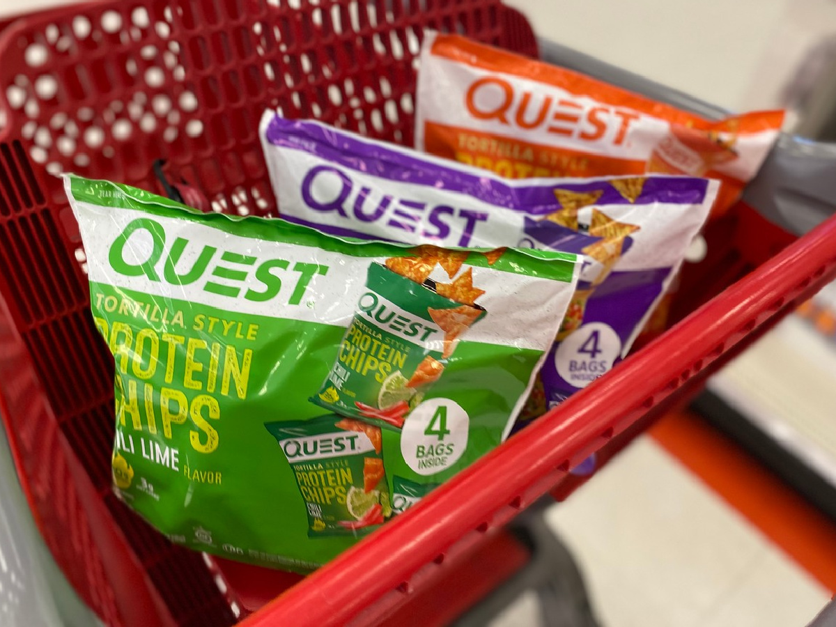 Quest Protein Chips bags in cart at target
