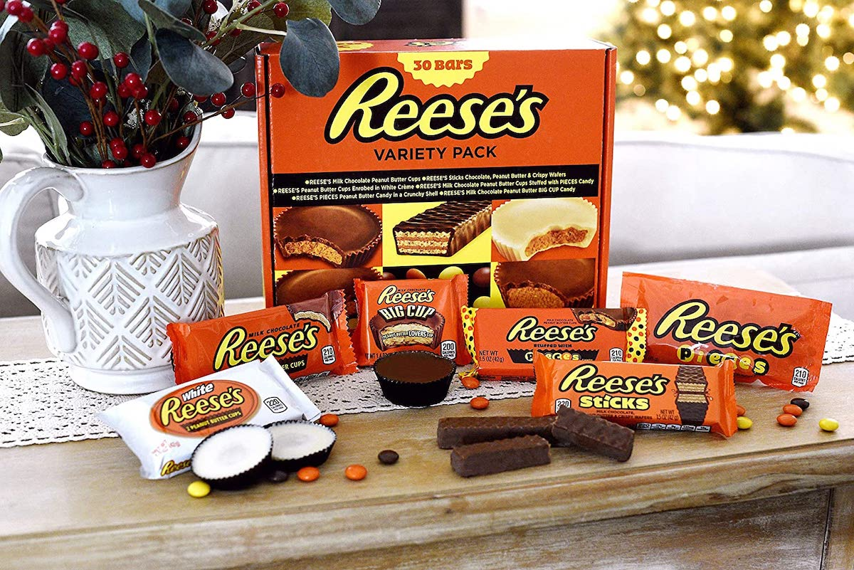 box of reese's 30 count variety with select candies on table