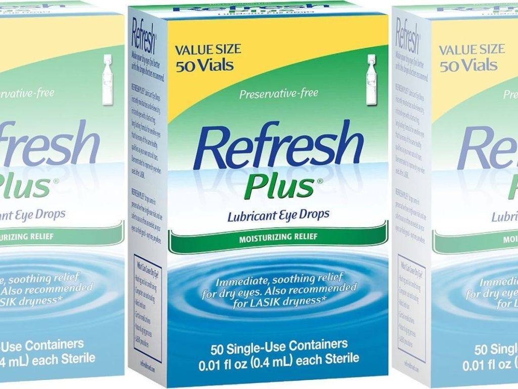 package of Refresh Plus Lubricant Eye Drops 50 Uses
