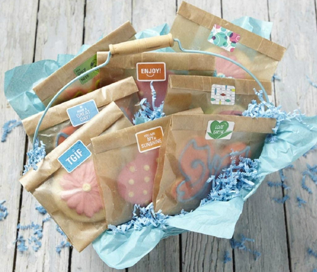Reynolds brand wax paper bags with cookies in a basket