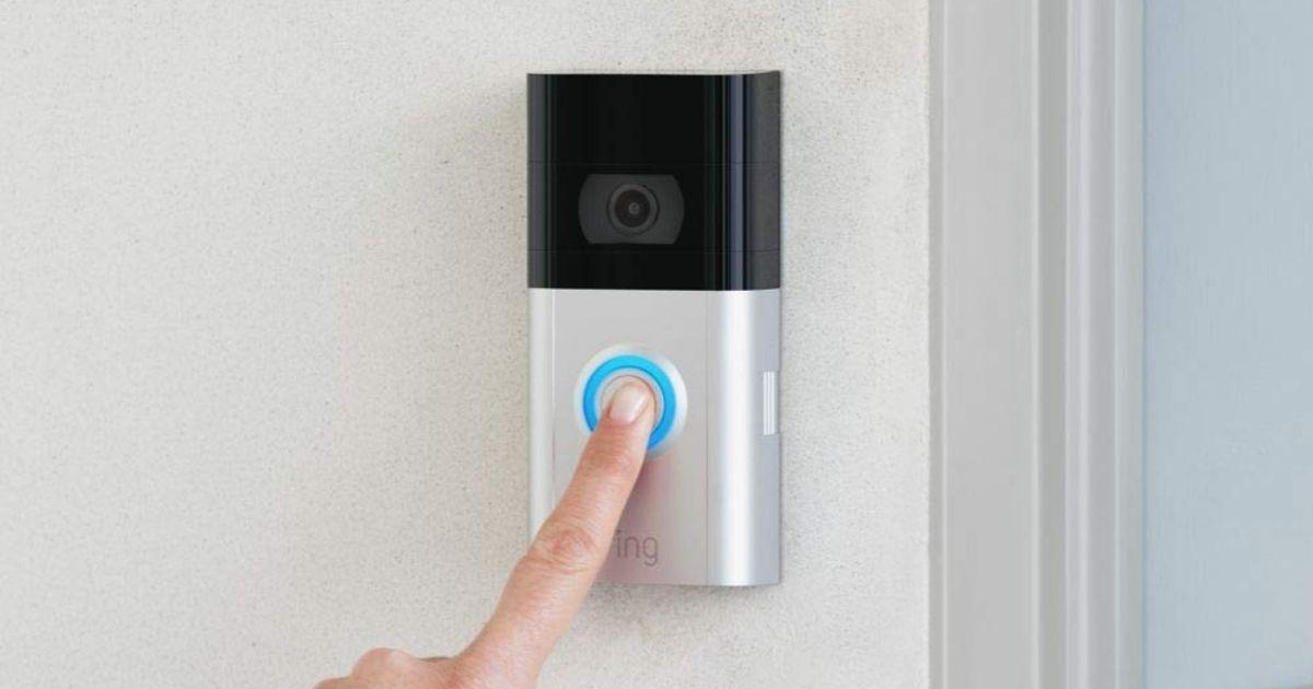 person ringing Ring video doorbell