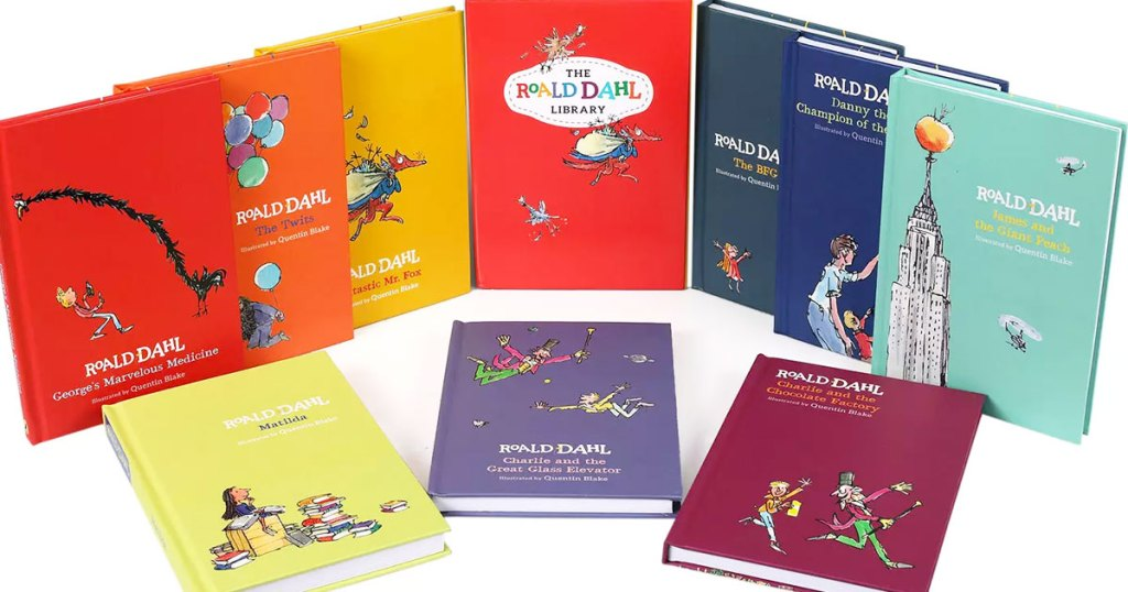 various colorful Roald Dahl childrens hardcover books