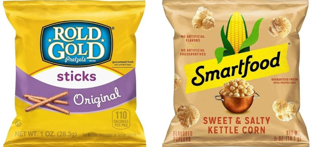 Rold Gold and Smartfood snack bags