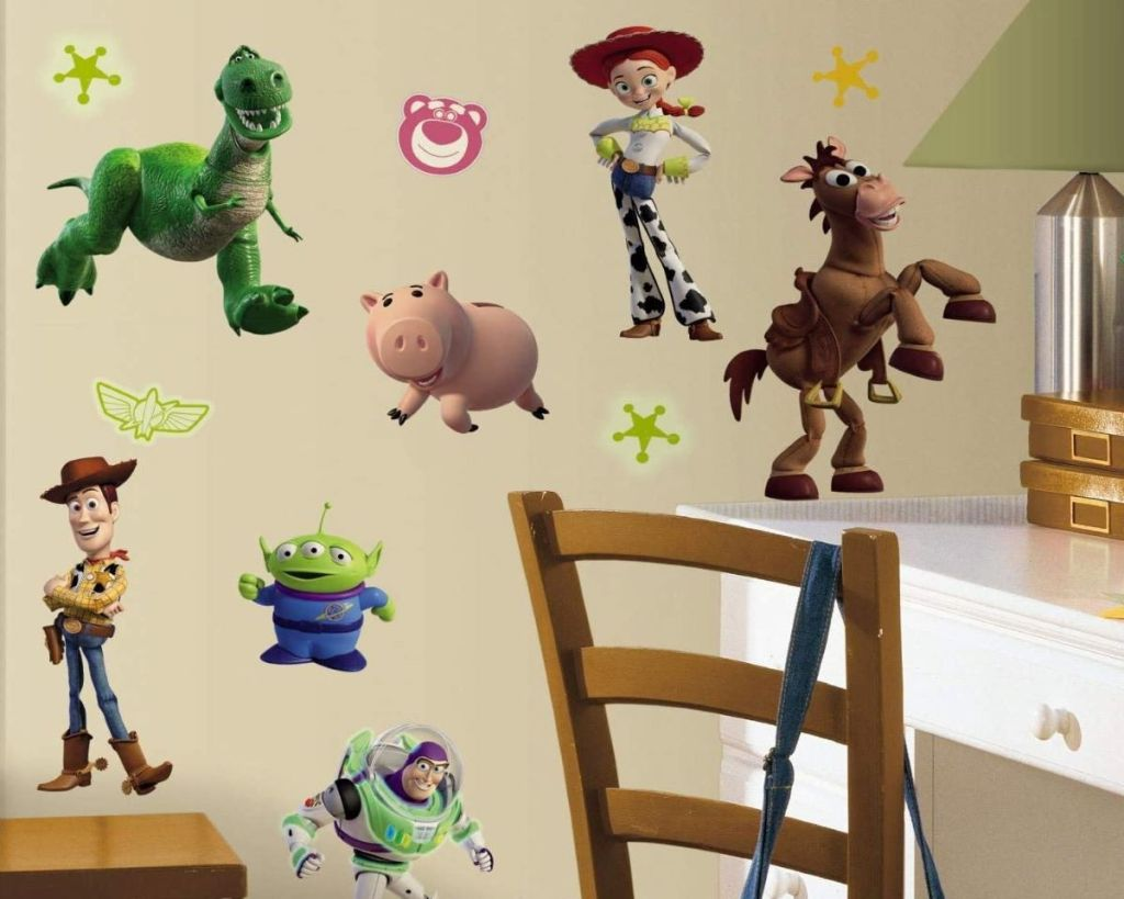 room with Toy Story decals on the wall