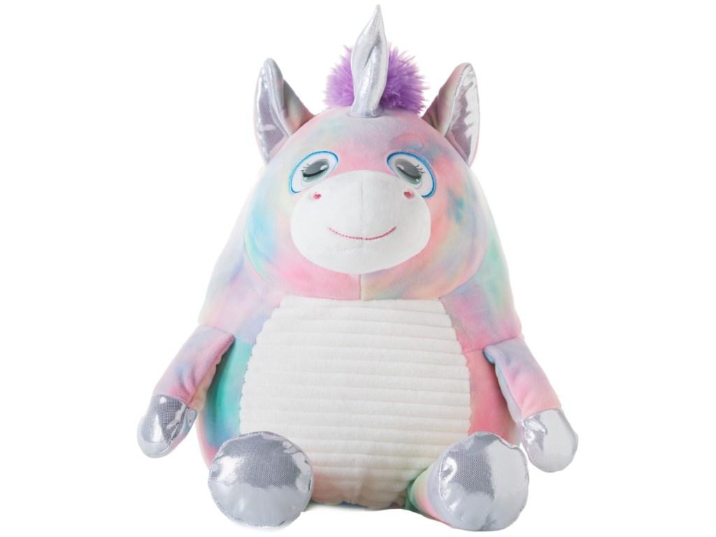 Round Flip-Eye Multicolor Unicorn Plush