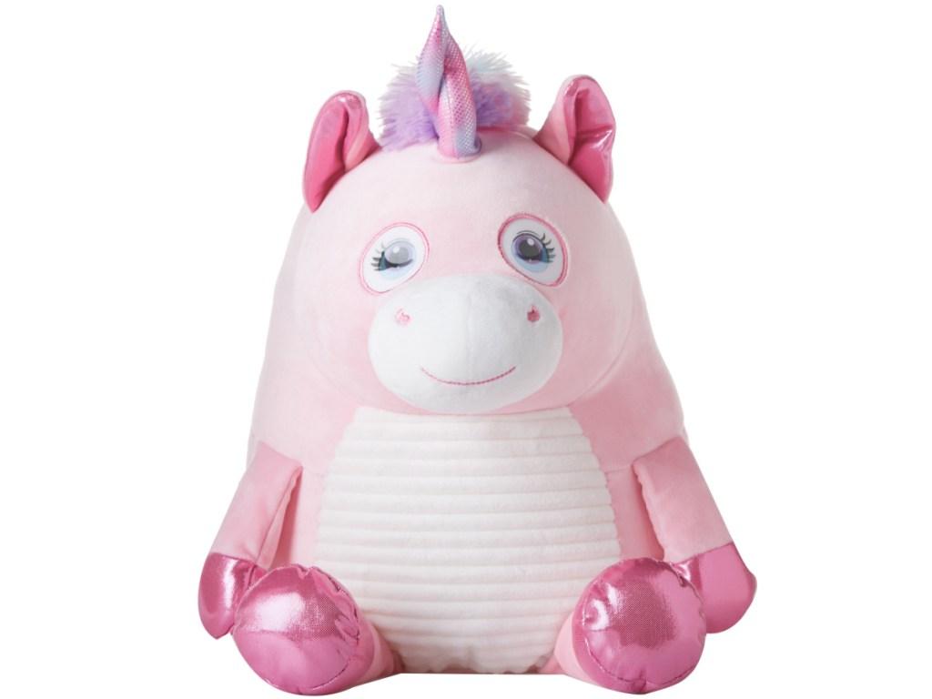 Round Flip-Eye Pink Unicorn Plush
