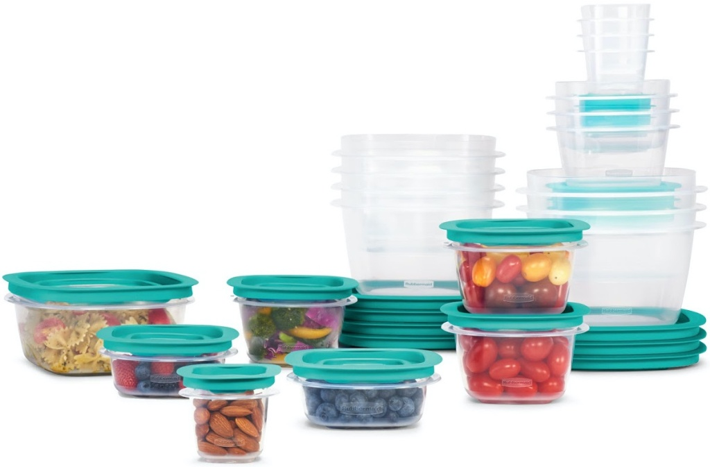 food storage containers with blue lids, some filled with food