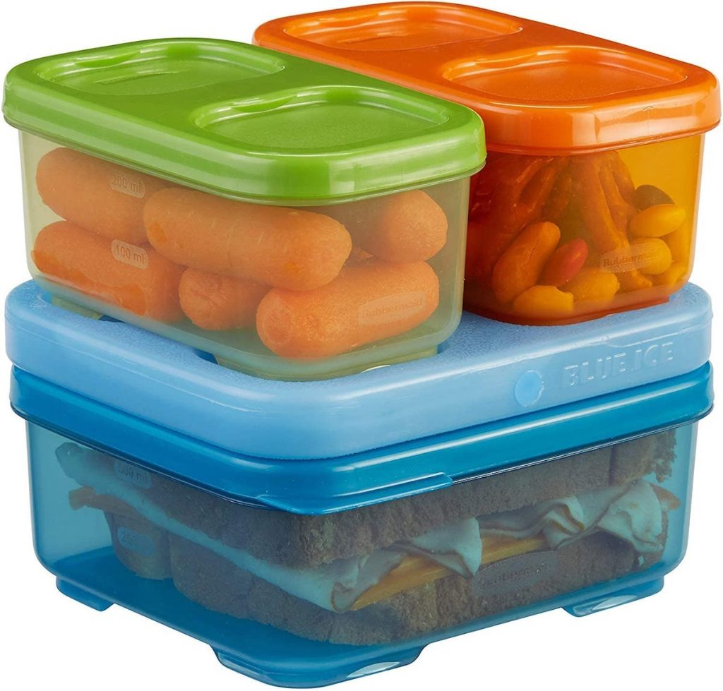 Rubbermaid LunchBlox Kids Lunch Containers Set in orange, blue and green with sandwich, carrots, and trail mix inside each