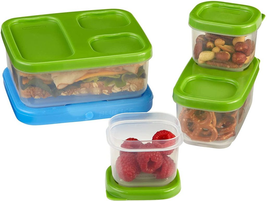 Rubbermaid LunchBlox Sandwich Kit with container full of pretzels, nuts, raspberries and a sandwich