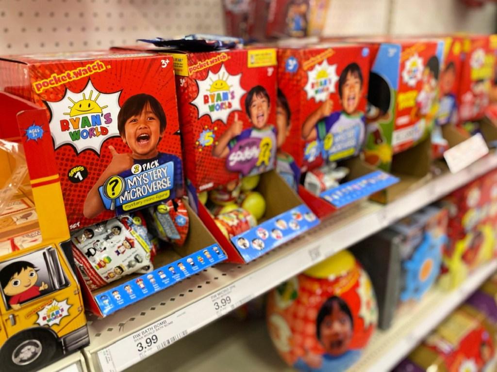 Ryan's World toys on shelf at Target