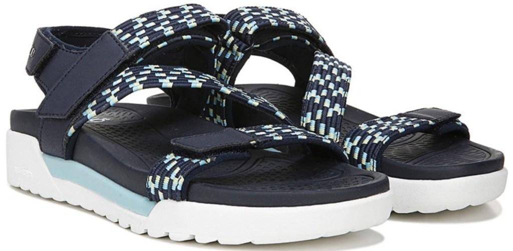 women's ryka sport sandals in navy blue and aqua