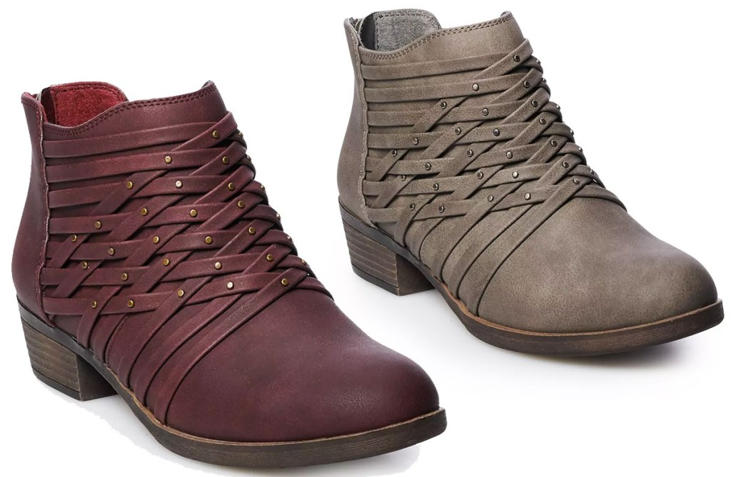two pairs of women's ankle booties in maroon and grey colors