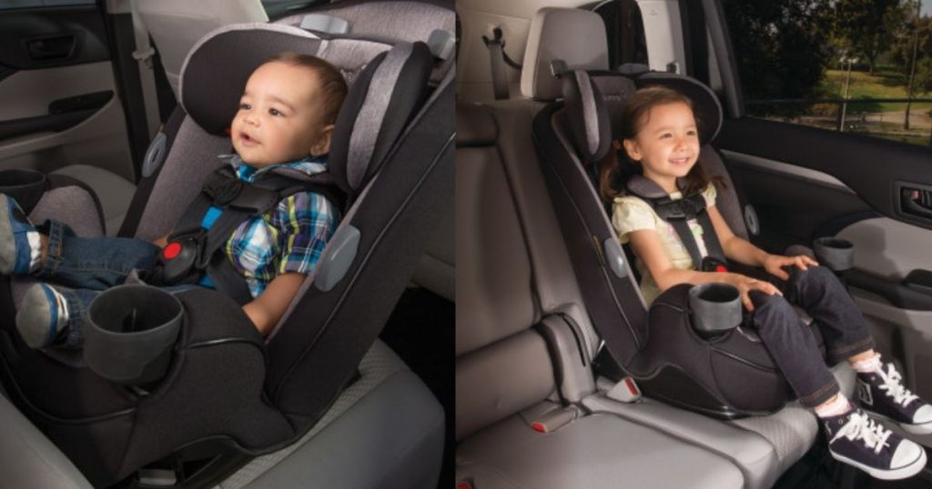 two side by side images of kids in carseats