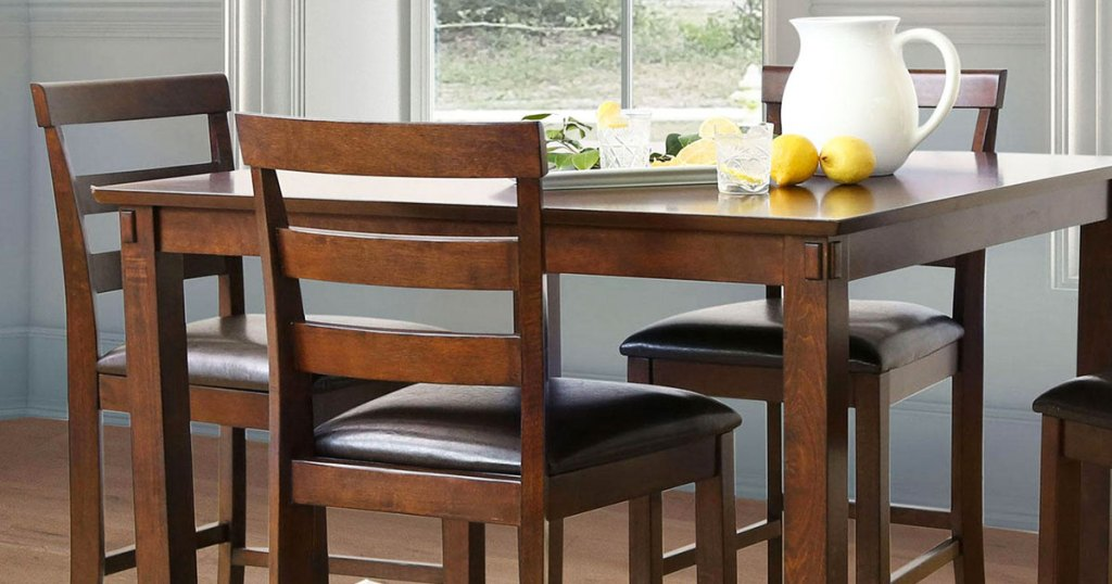 brown wood 5-piece dining set