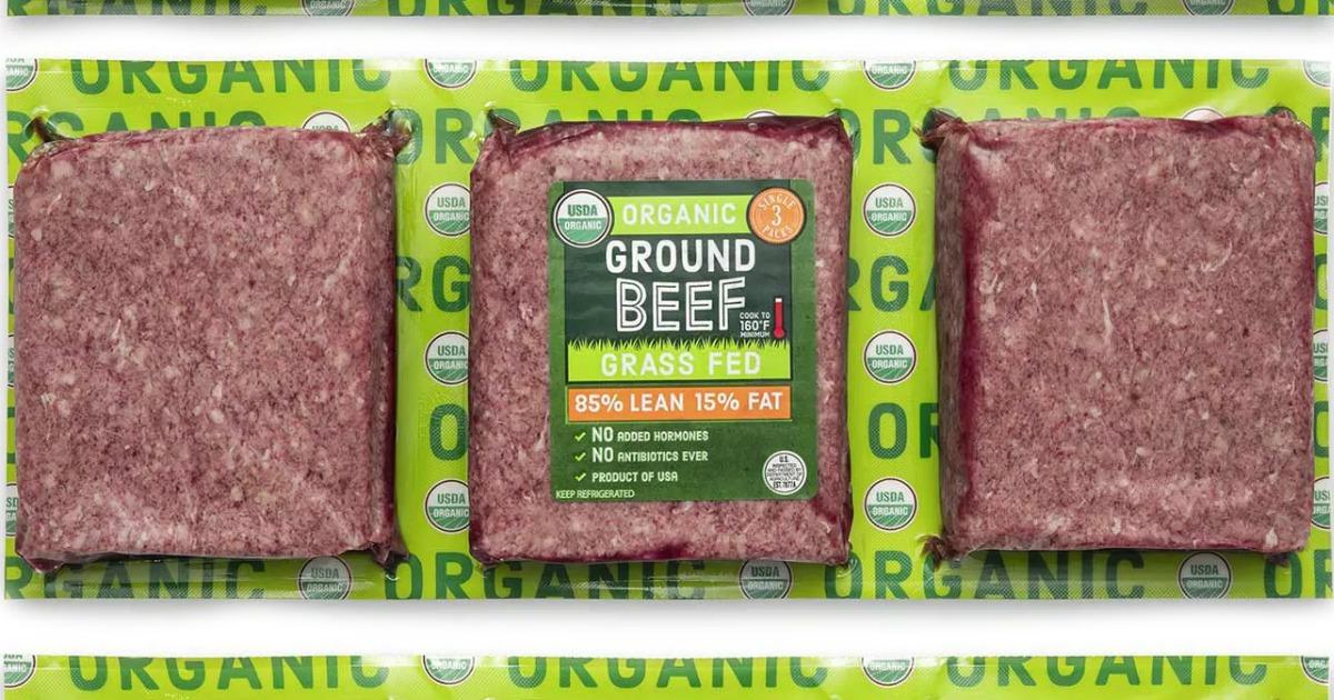 Three 1-pound packs of organic ground beef