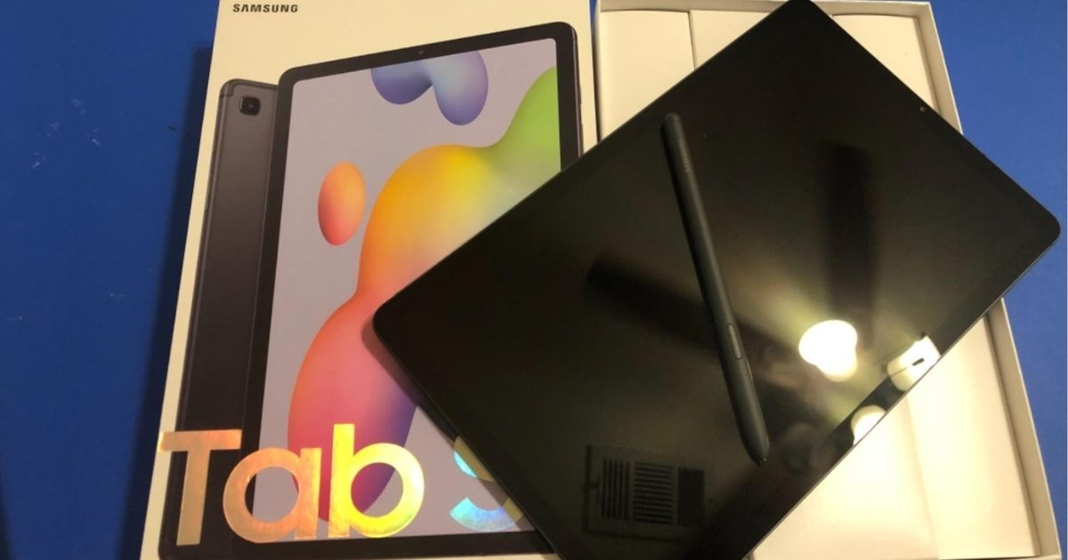 Samsung Galaxy Tablet on top of a box