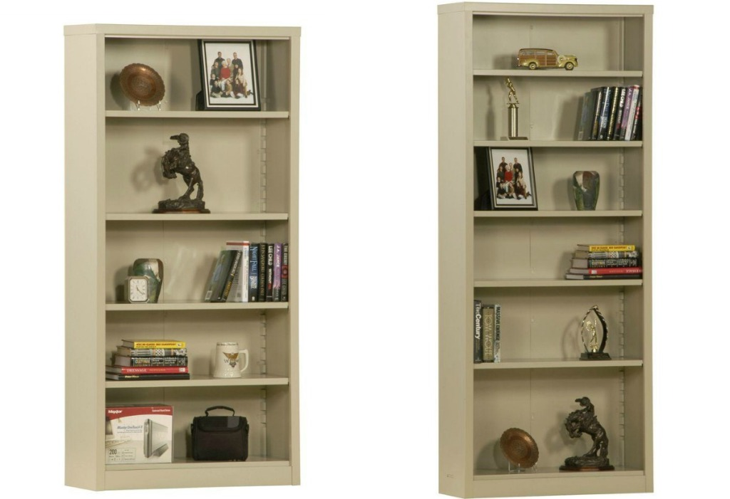 Sandusky 5-shelf and 6-shelf shelves shown in tan