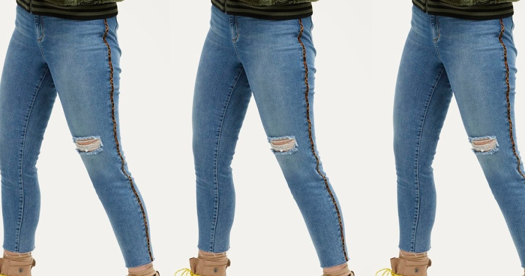 woman in jeans with animal print strip down leg