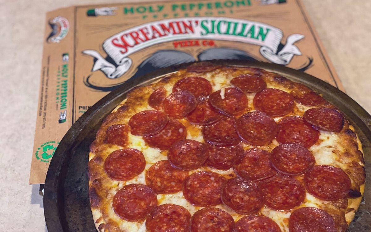Screamin Sicilian pizza on a counter