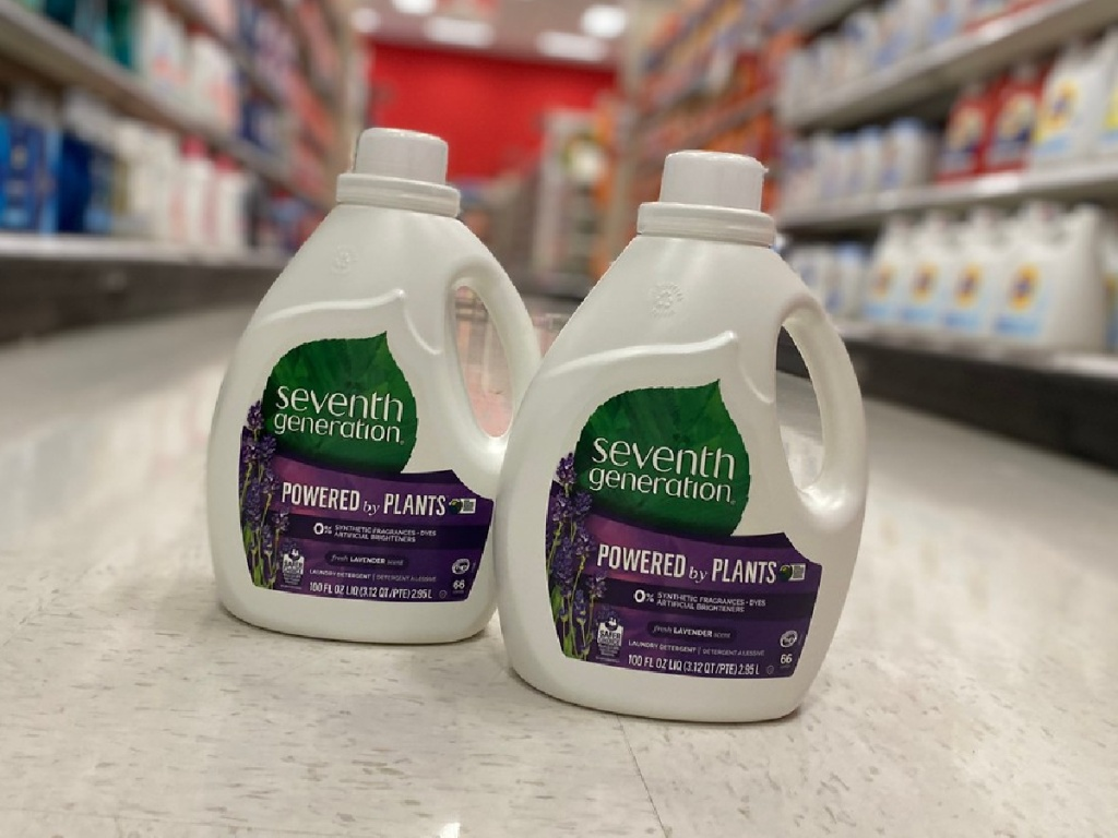 Seventh Generation Lavender Scented 100-Ounce Natural Liquid Laundry Detergent on floor at store